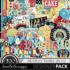Birthday Wishes Boy Digital Scrapbooking Kit,Celebration, Presents, Balloons, Alphabets, Monograms, Elements, Embellishments, Papers, Patterns, Backgrounds