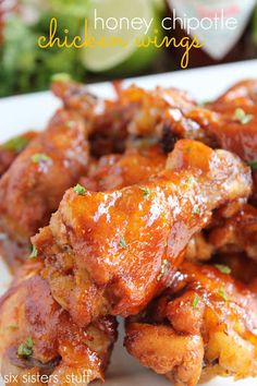 Hometown Honey Chipotle Chicken Wings {six sisters stuff}. With local honey, Tabasco® Chipotle sauce, and lime - they are the perfect combo of spicy and sweet. Honey Chipotle Chicken, Chipotle Sauce, Chicken Wing Recipes, Game Day Food, Yum Yum Chicken, Turkey Recipes, So Little Time, Food For Thought, Chicken Wings