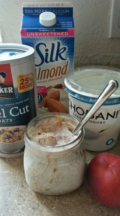 "Peaches and ""Cream"" Overnight Steel Cut Oats 21 day fix approved"