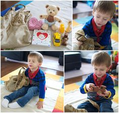 """""""feeling"""" bag, various objects in a sack, child must find them without looking"""