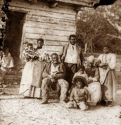 American Civil War, five generations of a black family on Smith's plantation, Beaufort, South Carolina, Timothy H. O' Sullivan photographer, 1862