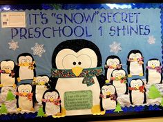 Winter Penguin Bulletin Board | KimOfAllTrades.com Great for a January or February preschool bulletin board!