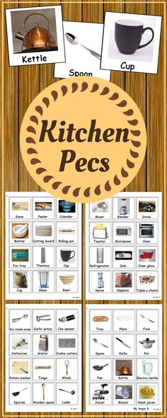 Kitchen Utensils Vocabulary Cards, PECS for Autism | PECS related game which focuses on kitchen related items and activities | Pinned by CDK