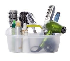 Store hair products and accessories in a cleaning caddy.