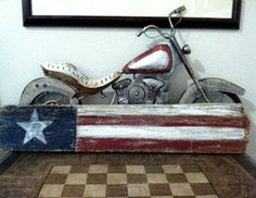 I like this flag, made from one piece of old barn wood.