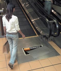 Duracell Stickers  Stickers of half covered Duracell battery compartments were placed at the start of escalators in major shopping malls.
