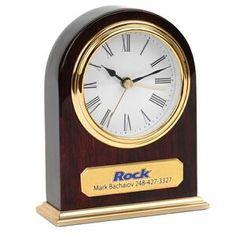 Clock - Arched Wooden Desk Alarm Clock w/ Gold Trim