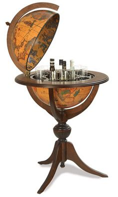 Pedestal Style Old World Globe Bar