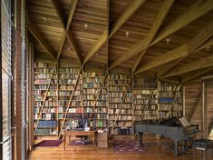 More Angled shelvesbooks - Built-in bookshelves in Casa Kike by Gianni Botsford Architects #architecture