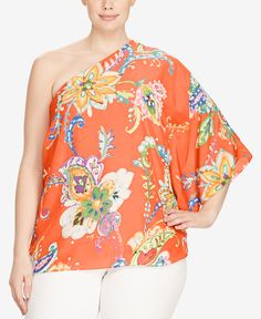 01a3645f4b2 Lauren Ralph Lauren Plus Size Floral-Print One-Shoulder Crepe Top - Orange  Multi