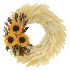 Laurel Foundry Modern Farmhouse Sunflower and Corn Husk Wreath Fall Wreaths, Christmas Wreaths, Corn Husk Wreath, Corn Husk Crafts, Sunflower Party, Native American Crafts, Crafts To Make And Sell, Wreath Tutorial, Nature Crafts
