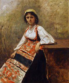 Italian Girl jean-baptiste-camille corot