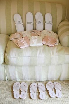 Pajamas, flip flops, and slippers for your bridesmaids gift - Lane Dittoe Fine Art Photographs