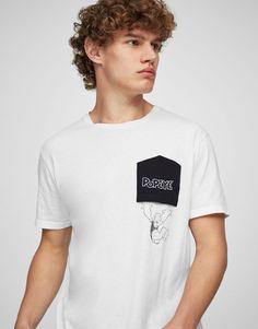 Pull&Bear - hombre - novedades - camiseta bolsillo estampado popeye - blanco - 09233519-V2017