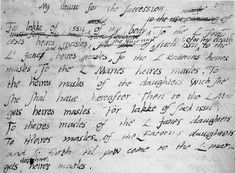 Edward removed his two sisters, Mary and Elizabeth, from the succession and instead made his cousin, Lady Jane Grey his successor. Edward made a mistake on the fourth line, and crossed out 'heires masles', as he realised that Jane would not have any sons before he died and so changed it to 'L Jane and her heires masles'.