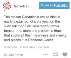The reason Canadians are so nice. Those dang geese are mean, this explains it, lol!