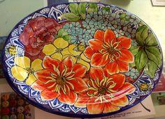 Damariscotta pottery platter painted by Tessa Ceramic Shop, Ceramic Plates, Ceramic Pottery, Decorative Plates, Pottery Painting Designs, Pottery Designs, Pottery Shop, Handmade Pottery, Ceramic Painting