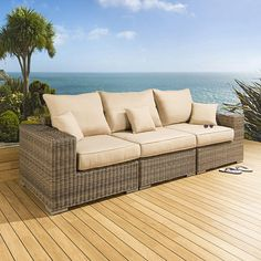 Luxury Outdoor Garden 3 Seater Sofa/Setee Mocha Rattan/Beige Cushions