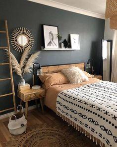 Room Ideas Bedroom, Home Decor Bedroom, Brown Bedroom Decor, Green Bedroom Colors, Black Master Bedroom, Urban Bedroom, Grey Bedroom With Pop Of Color, Bedroom Beach, Budget Bedroom