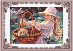 tela con dibujo impreso de niña y cachorro para bordar en petit point