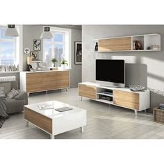 Compact - Modern Sideboard White with Oak Effect, Lounge Home Furniture Tv Furniture, Lounge Furniture, Modern Furniture, Furniture Design, Living Room Goals, Living Room Decor, Bedroom Decor, White Sideboard, Modern Sideboard