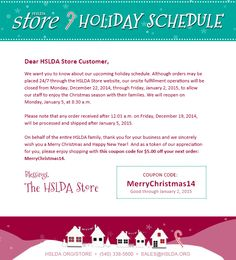 Important message regarding our Store holiday hours (psst...there's a $5 coupon involved!) MERRY CHRISTMAS from the HSLDA Store!