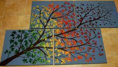 Handpainted seasons tree painting on painted canvas