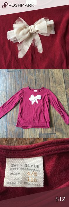 Zara bow top Maroon long sleeve, very soft and comfy with cream glitter bow screen print and cream tulle bow detail. Zara Shirts & Tops Tees - Long Sleeve