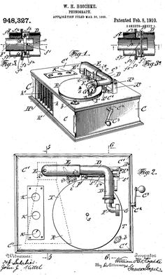 patent drawing phonograph