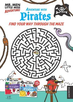 Mr Men Adventures with Pirates Maze Activity Sheet Get the Mr Men adventures with series here http://amzn.to/29RSHXh