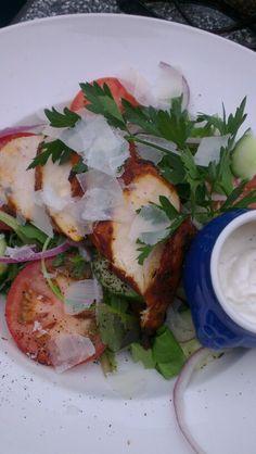 Chilirubbed chicken ceasar salad -aaaah... Richters i  Fjällbacka, Sweden