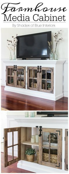 Farmhouse Media Cabinet with lots of storage, double 4 pane cabinet doors on…