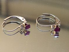 10K Gold Spinel Loop Style Earrings with by GiftShopVintage, $34.95