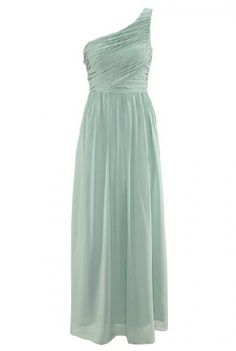 Light Green One-Shoulder Pleated Long Evening Dress pictures