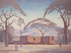 Exhibition Work / -scape: Gallery I / JH Pierneef: Bosveld murasie - SOLD African Paintings, Landscape Artist, Witch Art, Artist At Work, Landscape Illustration, Art, South African Artists, Landscape Art, Architecture Painting