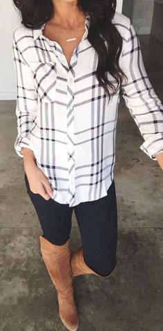 What to wear on the weekends, in the ski lodge, running errands. Black leggings with oversized patterned button down shirt and tall boots. Long hair and simple necklace. #ad #skilodge #ootd #leggings #boots