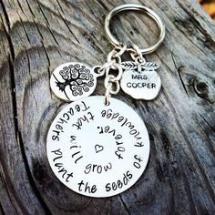 Teachers Gift Personalized Hand Stamped Keychain Custom Apple Tree of Life Charms Keying on Etsy, $35.00