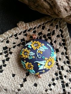 Artisan  Polymer Clay Focal Bead   Floral   by MoobieGraceDesigns