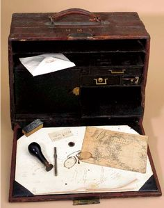 H.M. STANLEY'S TRAVELLING DESK. Carried by explorer Henry Morton Stanley during his several African explorations.