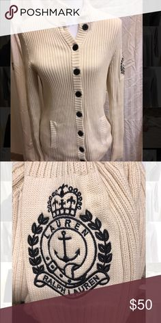 Ralph Lauren button down sweater Super comfortable, classic Ralph Lauren cream colored button down. Made from 100% cotton. Excellent used condition. Ralph Lauren Sweaters Cardigans