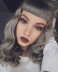Bold, heavy, straight bangs. Metallic, silver, grey hair color ...