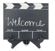 Oscar party, oscars party, oscar party ideas, welcome sign, clapboard and chalk, decor