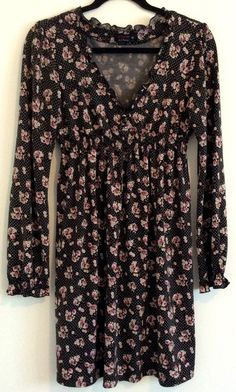PILGRAM Ladies Floral Print Stretchy Long Sleeve Casual Party Boho Dress Size 10