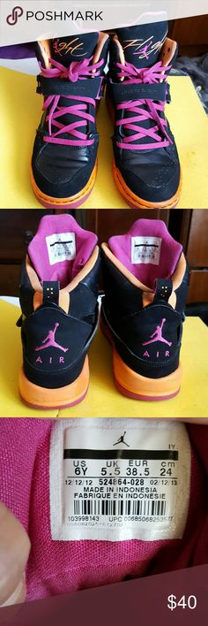 Air Jordans Youth size. Some wear, some staining inside near ankle from black socks Air Jordan Shoes