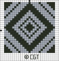 Free Tile Twelve Counted Cross Stitch Pattern - Printable Cross Stitch Chart: Free Two Color Tile Twelve Counted Cross Stitch Pattern - Free Printable Chart