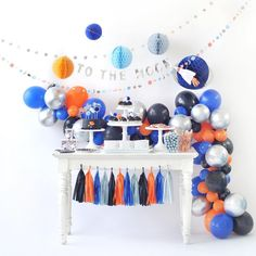 Space Party Garland Kit, Balloon Kit Background for Outer Space, Astronaut Space Birthday Theme Party, Birthday Party Decoration Happy Birthday B, Birthday Cakes, 2nd Birthday, Birthday Ideas, Outer Space Party, Moon Party, Birthday Party Decorations, Party Favors, Solar System