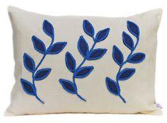 Linen cushion with blue leaf design £68.00