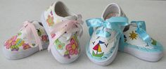 Hand painted shoes by TheBlueeyedWren on Etsy, $35.00