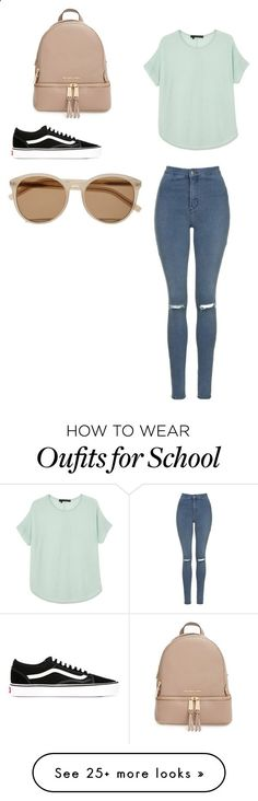 School Chic by fashionlover351 on Polyvore featuring 360 Sweater, Yves Saint Laurent, Topshop, Vans and MICHAEL Michael Kors