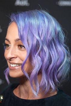 Nicole Richie's lavender bob with blue undertones.  Wavy short mermaid hair!